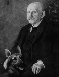 Max von Stephanitz mit seinem Schäferhund Horand von Grafrath 1930