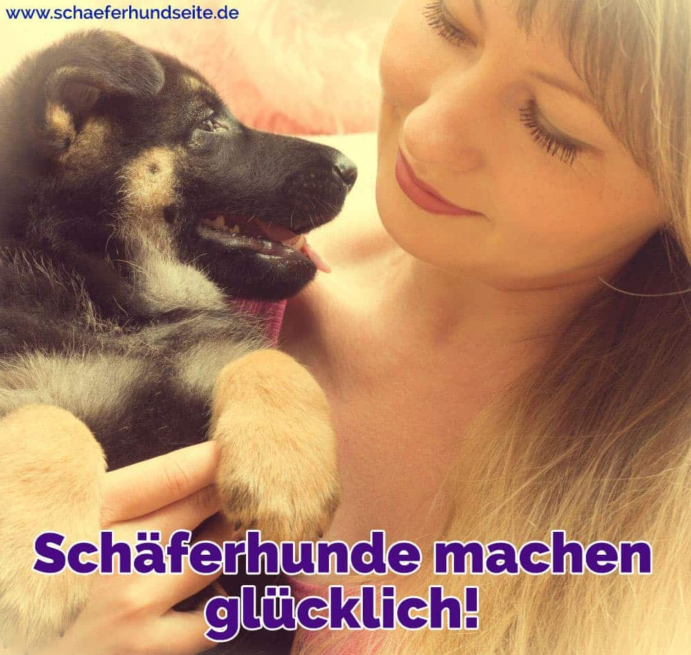 Eine Frau umarmt ihren Schäferhund Welpen